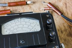 Close-up of an vintage ancient voltmeter Royalty Free Stock Images
