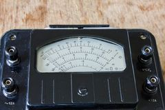 Close-up of an vintage ancient voltmeter Royalty Free Stock Photo