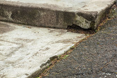 Close up Vintage Asphalt Driveway and Concrete Steps Royalty Free Stock Photo