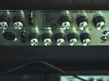 Close up vintage audio rig control with knobs, faders stock images