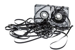 Close up of vintage audio tape cassette, isolated on white, with Royalty Free Stock Photo