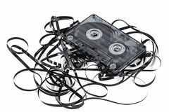 Close up of vintage audio tape cassette, isolated on white, with Royalty Free Stock Image