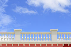 Close-up of vintage balcony with blue sky Stock Photo