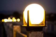 Bollard lamp with blurred background. royalty free stock images