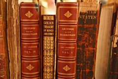 Close up of vintage books stock photos