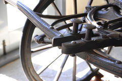 Close up of vintage carriage wheel. For learning Stock Photos