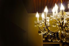 Close up vintage chandelier and space background Royalty Free Stock Photos
