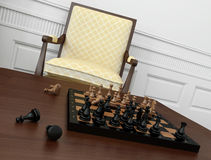 Close-up of vintage chess game on coffee table Stock Image