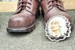 Close up of vintage cowboy boots Royalty Free Stock Photo