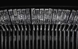 Close up of vintage, dirty typewriter letteters Royalty Free Stock Image