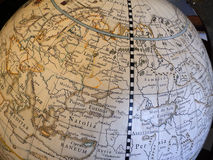 Close-up of vintage globe Royalty Free Stock Photography