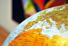 Close up of vintage globe. Close up of europe and other  on globe Royalty Free Stock Photo