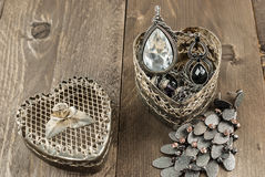 Close up of vintage heart shape jewelry box Stock Image