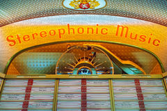 Close up of a vintage jukebox on an antique fifties to seventies royalty free stock photo