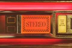 Close up of a vintage jukebox with the text stereo royalty free stock photo