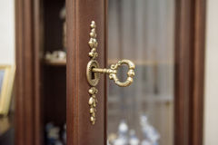 Close up vintage key in keyhole Stock Photography
