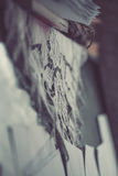 Close up of vintage lacy doily on old piano. Vintage tone filter effected. Soft focus stock photos
