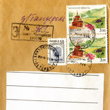 Close-up vintage letter with stamps Royalty Free Stock Photos