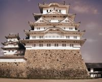 Close up Vintage Look of the Himeji Castle Keep. Himeji Castle is considered the prototypical Japanese castle, featuring many elements associated with feudal royalty free stock images