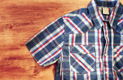Close up of vintage male shirt, Checkered pattern Royalty Free Stock Photography