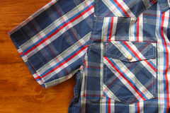 Close up of vintage male shirt, Checkered pattern. Royalty Free Stock Photography