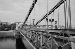 Close up of vintage metal fence of Chain Bridge. Black white abstract architecture background. Hungary, Budapest stock photo