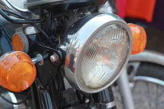 Close up of vintage motorcycle headlights Royalty Free Stock Photos