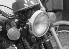 Close up of vintage motorcycle headlights Stock Images