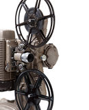 Close-up of a vintage movie projector on a white background Stock Photography