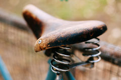 Close up vintage old bicycle seat Stock Image