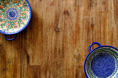 Close-up of vintage plates with colorful ornaments Royalty Free Stock Photo