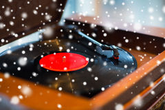 Close up of vintage record player with vinyl disc Stock Images