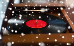 Close up of vintage record player with vinyl disc Royalty Free Stock Photography