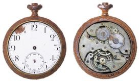 Close-up of a vintage rusty clock from both sides Stock Photography