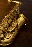 Close up of vintage saxophone. The alto saxophone, close-up Stock Photography
