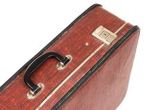 Close up of vintage scratched brown suitcase. Stock Photos