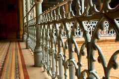 Close up of vintage steel fabrications in the palace of bangalore. Bangalore Palace, a palace located in Bangalore, Karnataka, India. Construction of a palace Royalty Free Stock Photo