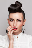 Close Up of vintage styling model Royalty Free Stock Images