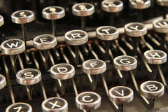 Close up of vintage typewriter keys. A close up of keys on a vintage manual typewriter stock image