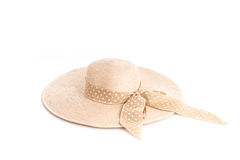 Close up vintage woman beach hat isolated on white Royalty Free Stock Image