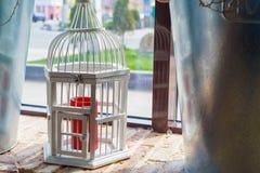 Close up vintage wooden decorative birdcage Royalty Free Stock Image