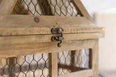 Close up vintage wooden decorative birdcage Stock Images