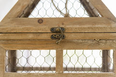 Close up vintage wooden decorative birdcage Royalty Free Stock Photography