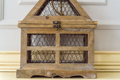 Close up vintage wooden decorative birdcage Royalty Free Stock Photos