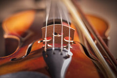 Close up of violin bridge Royalty Free Stock Photos