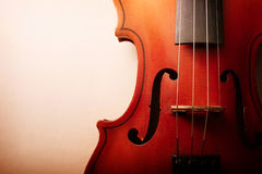 Close Up of Violin Scroll and Bow Stock Photos