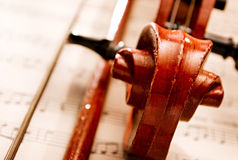 Close Up of Violin Scroll and Bow Royalty Free Stock Photo