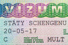 Close up of visa in passport. Czech Republic of shengen travel concept. royalty free stock photography