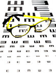 Glasses on vision test chart Royalty Free Stock Photos