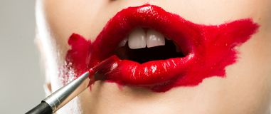 Close-up vivid red mouth Stock Image